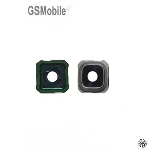 Vidro da câmera traseira com frame Samsung S6 Edge Plus Galaxy G928F prata