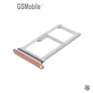 Bandeja de cartão SIM e MicroSD rosa Samsung S7 Edge Galaxy G935F