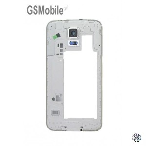 Samsung S5 Galaxy G900F Middle Cover + Camera Lens silver