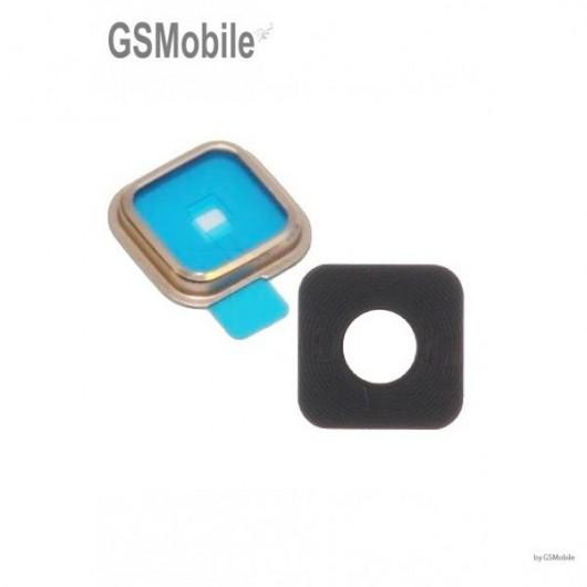 Vidro da câmera traseira com frame para Samsung S5 Galaxy G900F Dourado