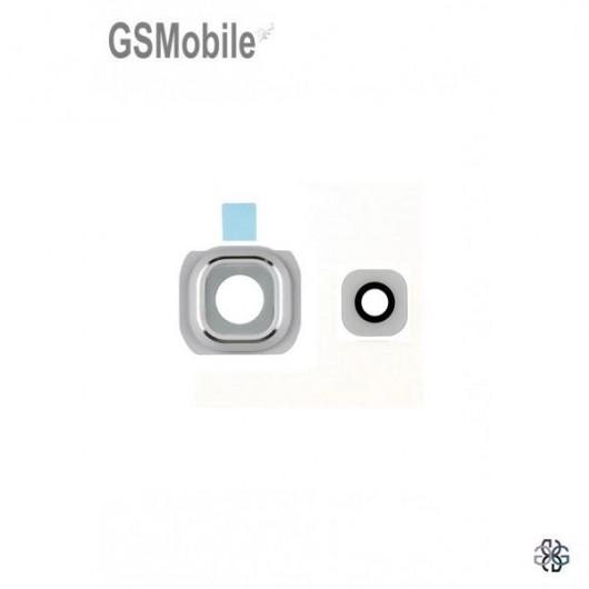 Vidro da câmera traseira com frame para Samsung S6 Edge Galaxy G925F Branco
