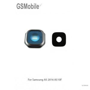 Vidro da câmera traseira con frame Samsung A5 2016 Galaxy A510F Preto