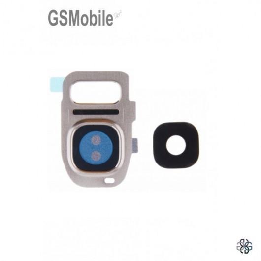 Vidro da câmera traseira con frame Samsung S7 Galaxy G930F Dourado