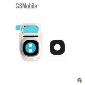 Vidro da câmera traseira con frame Samsung S7 Galaxy G930F Branco