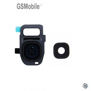 Vidro da câmera traseira con frame Samsung S7 Edge Galaxy G935F Preto