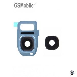 Vidro da câmera traseira con frame Samsung S7 Edge Galaxy G935F Azul